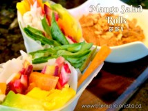 The most delicious sweet, spicy, and satisfying mango salad rolls you'll ever eat. Via @bcnutritionista Gluten free, dairy free, soy free, vegetarian, and vegan.