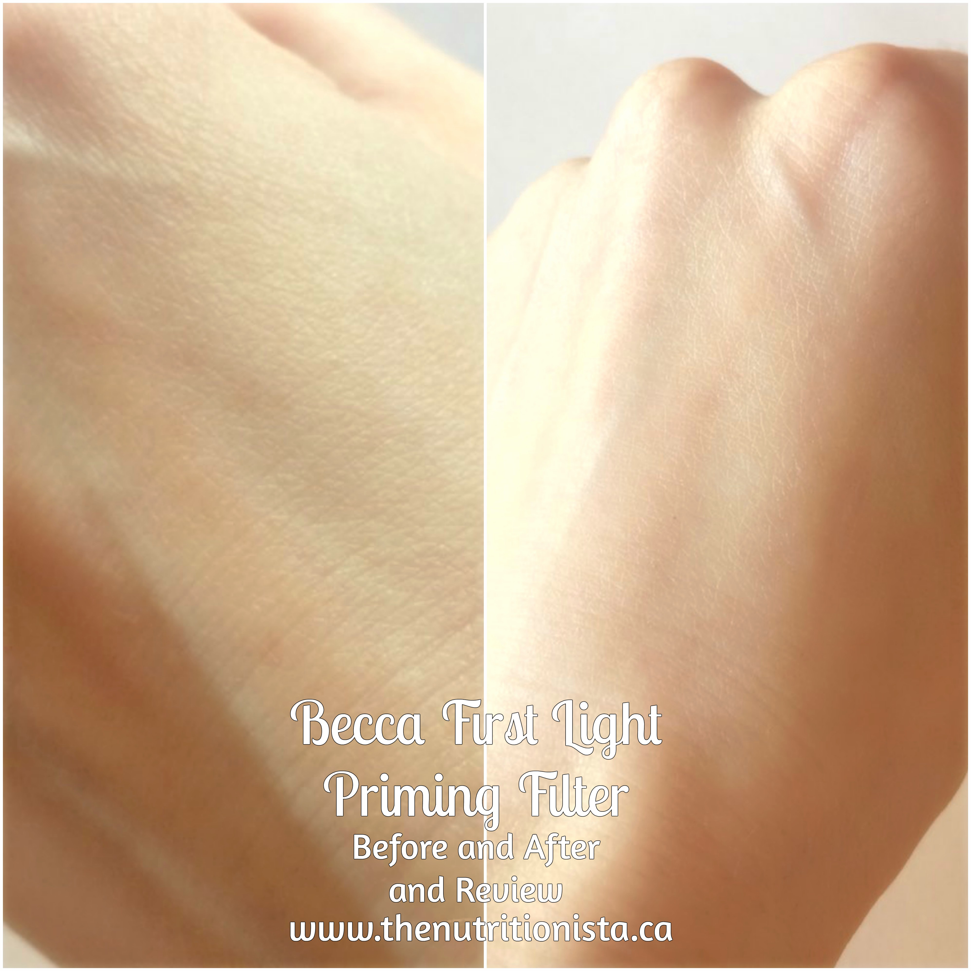 Becca First Light Priming Filter review and before and after pics, Via @bcnutritionista